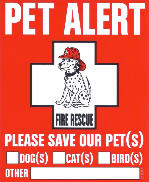 Free Pet Alert Pet Safety Decal