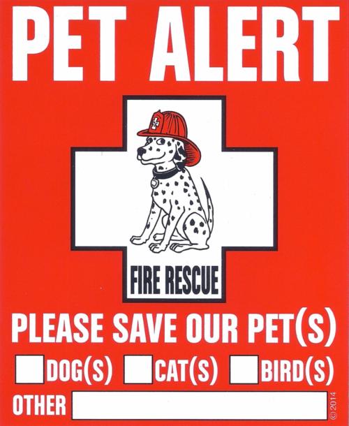 Free Pet Alert Pet Safety Decal