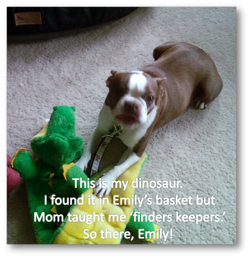 Olive with dinosaur