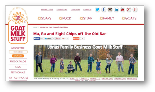 Family Business Jonas Family Goat Milk