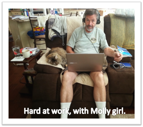 Tom at work with Molly